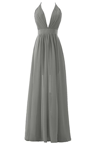 Slit Prom Top Plunging Dress Women's Evening Pleated Formal Neck Backless Silver DYS twRvHx