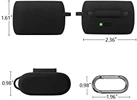 Back LED Visible 2020 Released Gray Soft Silicone Skin Cover Shock-Absorbing Protective Case with Keychain for Jabra Elite Active 75t Esimen Jabra Elite 75t Case Cover,