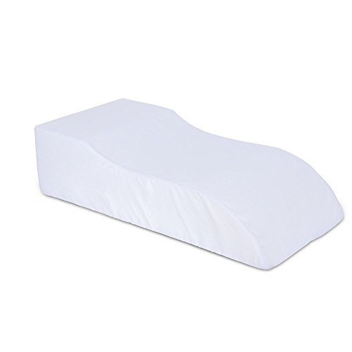 Medical Leg Rest Elevated Leg Pillow Supportive Foam Foot Rest Cushion Bed Wedge Leg Raiser White Polycotton Cover ()