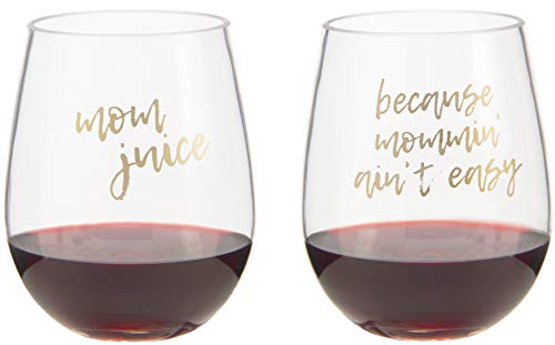 2 PACK - Mom Juice, Because Mommin Ain't Easy - Mother's Day Gifts - Unique Baby Shower Gift for Mom to be - Cute Funny Wine Glass - Unbreakable Plastic Wine Glass - Toddler Proof New Mom Gift (Mommy To Be Wine Glass)