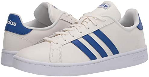 31wcfAJAfiL. AC adidas Men's Grand Court Sneaker    A '70s style reborn. These men's shoes take inspiration from iconic sport styles of the past and move them into the future. They're crafted with a suede upper and leather-like details. Signature 3-Stripes flash along the sides. Plush midsole cushioning gives comfort to every step.