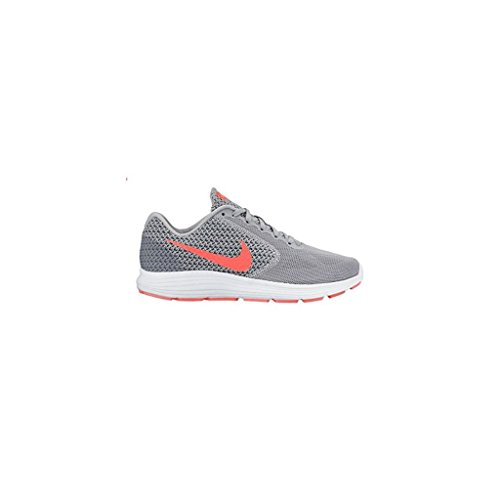 nike-womens-revolution-3-running-shoes-7-wlf-gry-hypr-orng-cl-gry-atmc
