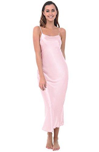 Pink Slip Dress (Alexander Del Rossa Womens Satin Nightgown, Full Length Camisole Chemise, Medium Petal (A0778PTLMD))