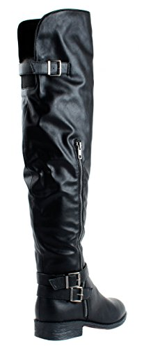 Bamboo Womens Jagger-11 Faux Leather Over Knee High Boots with Decorative Zipper Black dNxn2kRdeR