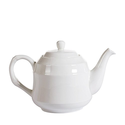 Porlien 46-Ounce/1350-ml White Bone China Teapot, Bamboo Design, Service for 5