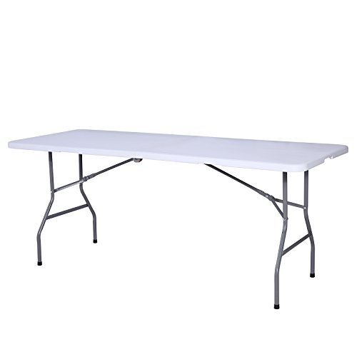 Uenjoy 6′ Portable Folding Table Plastic Indoor Outdoor Picnic Party Camp Dining White Review
