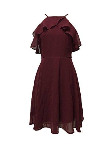 Women's Summer White Chiffon Sling Lotus Leaf Edge Slim Dress (Medium, Wine red)