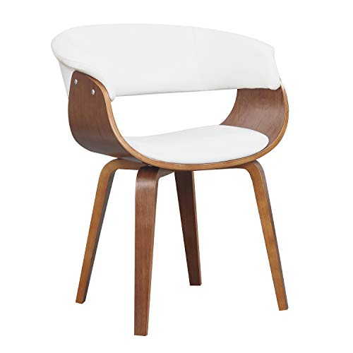 Heights Leather Pacific Chair (Wood and White Faux Leather Mid-Century 18-Inch Seat Height Dining Chair)