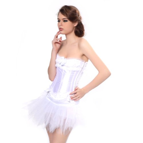 Kardashian Halloween Costumes Ideas Kim (MUKA White Burlesque Corset And Petticoat, Halloween Costume, Gift Idea)