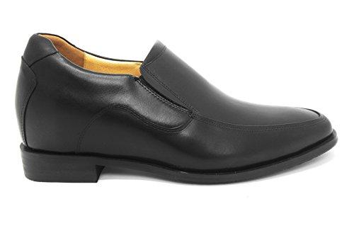 Le Scarpe Da Ascensore Per Uomo Con Altezza Aumentata Di Zerimar Aggiungono Più Di 2,5 Pollici Alle Scarpe In Pelle Di Alta Qualità Nere Realizzate In Spagna Nera