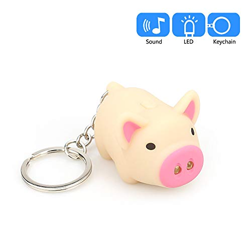 (Mini LED Keychain Flashlight, Ultra Bright Key Ring Light Torch, Cute Cartoon Pig Keychain with LED Light and Sound Keyfob Kids Toy Gift)