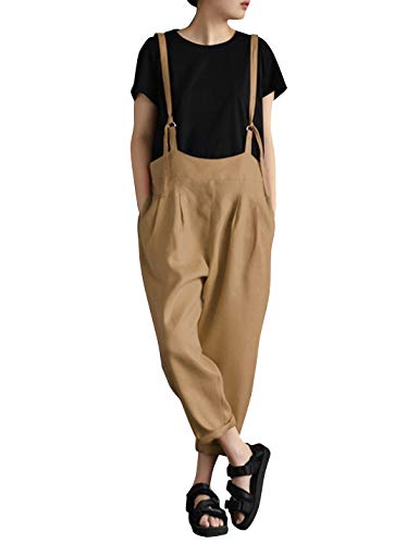Yeokou Women's Linen Wide Leg Jumpsuit Rompers Overalls Harem Pants Plus Size (Medium, Style15Khaki)