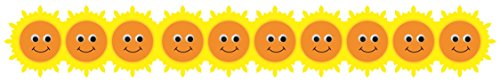 Hygloss Products Happy Suns Die-Cut Bulletin Board Border - Classroom Decoration - 3 x 36 Inch, 12 Pack -