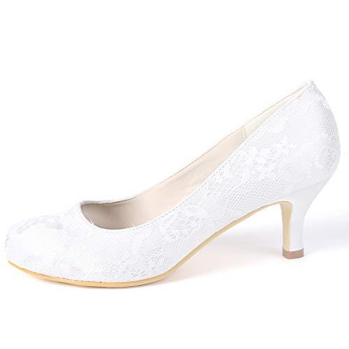 Boda Satén 6cm Fy119 Altos Ivory yc L Zapatos A Tacones Verano Las Mujeres De Nupcial Del Hechos Mano Primavera Redondo tv7U67qwHx