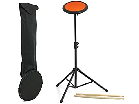 D'Luca Drum Practice Pad 8 Inch with Adjustable Stand, Sticks and Gig Bag