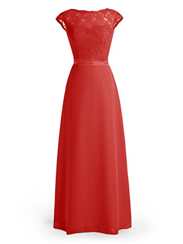 Wedtrend Women's Cap Sleeved Bridesmaid Dress Floral Lacey Bodice Maxi Prom Gown WT10101Red4 (Kim Kardashian Red Lace Dress For Sale)