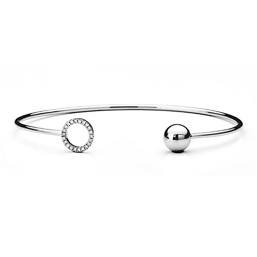 (Forever One Silver Ball and Circle Round Moissanite Cuff Bracelet by Charles &)