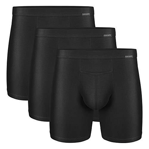 David Archy Men's 3 Pack Premium Supima Cotton Underwear Ultra Soft Boxer Briefs with Fly (L, Black)