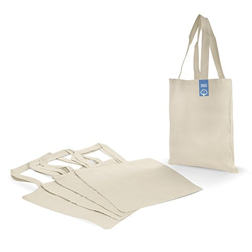 Simply Green Solutions Blank 100% Cotton Fabric Reusable Cloth Bags - Set of 5 - Tote Bags for School, Tote Bags for Grocery Shopping, Fun Promotional Items or Eco-Friendly Reusable Bags by Simply Green Solutions (Image #2)