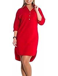 FLCH+YIGE Women Casual Loose Big-Tall Button Up Irregular Mini Dress
