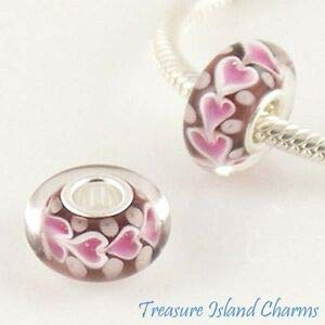 Harissa Pink Hearts Love Murano LAMPWORK Glass 925 Sterling Silver European Bead Charm Crafting, Bracelet Necklace Jewelry Findings Jewelry Making Accessory