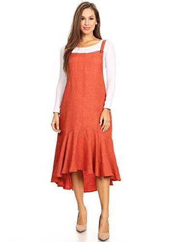 (Anna-Kaci Women's Button Strap Overall Jumper Pinafore Peplum Hem Midi Dress,Paprika,Small)