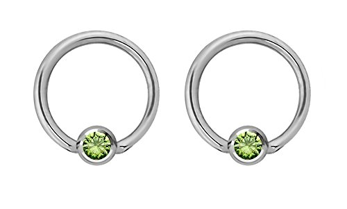 - Pair of 14g 10mm Every-Day Surgical Steel Green Jeweled Captive Bead Ring Body Piercing Hoops