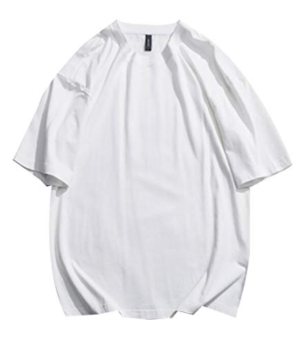 M&S&W Mens Hipster Hip Hop Basic Solid Elong Plus Size T-Shirt White S ()