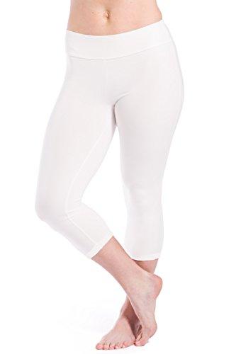 Fishers Finery Women's Ecofabric Classic Athletic Workout Yoga Capri (White, M)