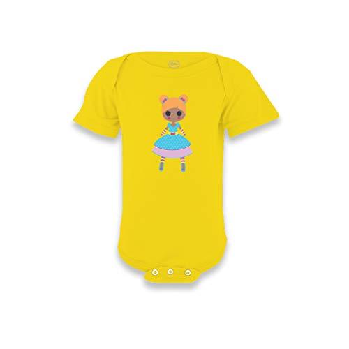 Rag Doll Blue B Short Sleeve Envelope Neck Boys-Girls Cotton Baby Bodysuit One Piece - Yellow Zest, - Doll Bodysuit Rag Infant