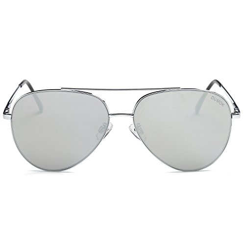Dumok Aviator Sunglasses Unisex Flat Lens Mirrored Metal Classic Shades DSR003 With Silver Frame/Silver ()