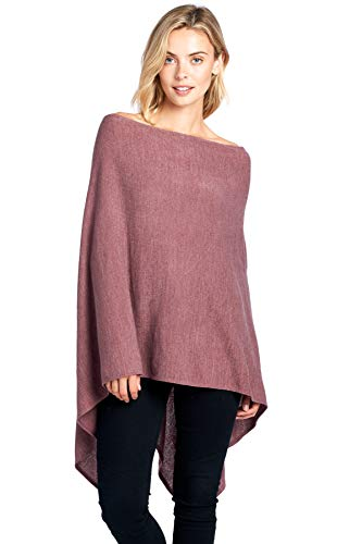 Modern Kiwi Solid Long Knit Asymmetric Wrap Poncho Topper Mauve One Size