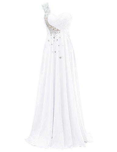 Party Dasior Women's White Bridesmaid Chiffon Dresses Long aI0qOzI