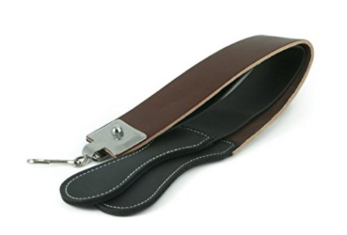 Leather Razor Strop : 2 1/2 X 23 Barber's Razor Strop Cow Hide, Dual Straps with Swivel Clip GBS