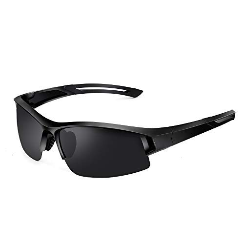 SPOSUNE Polarized Sports Sunglasses UV400 Protection Driving Glasses for Men Women Cycling Baseball Golf Matte Black TR90