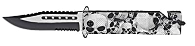 "Tarrkenn TR2345 Spring Assist Folding Knife, 4.5"", Skull Camo"