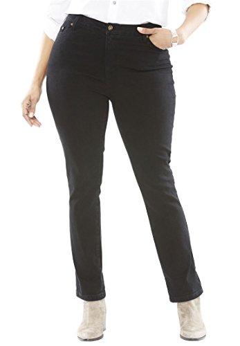 Back Yoke Denim Jean - Woman Within Plus Size Girlfriend Stretch Jean - Black Denim, 30 W