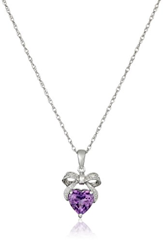 Sterling Silver Amethyst and Diamond Accent Bow Heart Pendant Necklace, 18