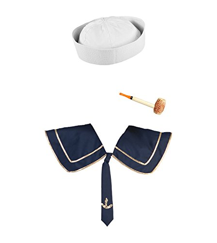 Nicky Bigs Novelties Mens White Sailor Hat Corn Cob Pipe and Deluxe Collar Popeye Costume (Popeye Corn Cob Pipe)