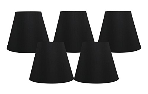 Meriville Set of 5 Black Faux Silk Clip On Chandelier Lamp Shades, 3-inch by 5-inch by 4.75-inch -