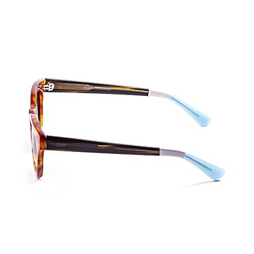 Ocean Sunglasses Santa Cruz Lunettes de Soleil Mixte Adulte, Brown Red/Dark Brown/White/Blue/Smoke Lens