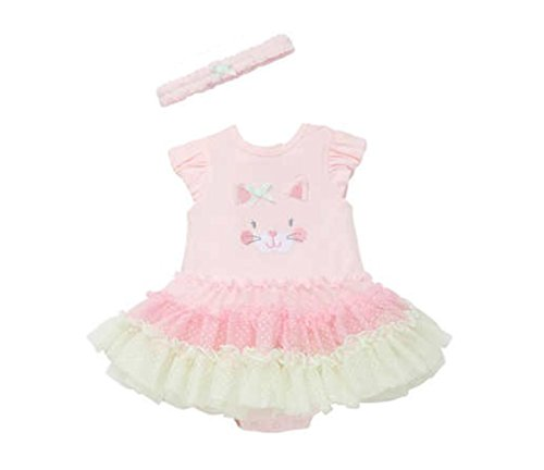 Little Me Tutu Popover Dress with Headband for Baby Girls (12 Months, Pink Multi)