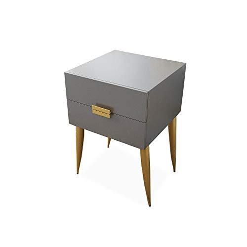 Tcaijing Nachtschrank,Beistelltisch Sofatisch Nachtkommode Kommode,2 Schubladen Schlafzimmer Für Boxspringbett Geeignet (Color : Gray)