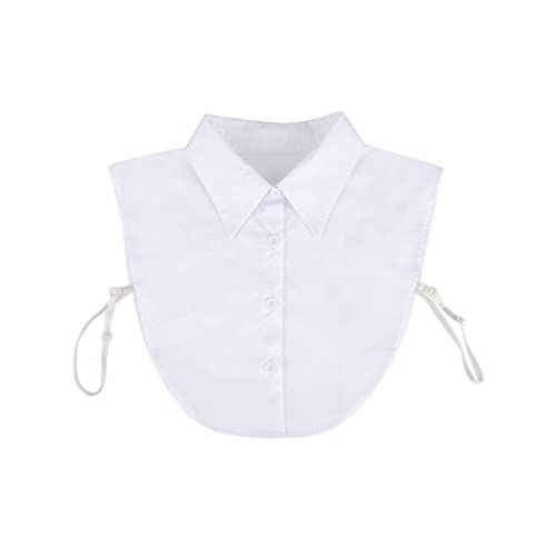 2//set Women/'s Detachable Collar Button Up Half Shirt Dickey Black White