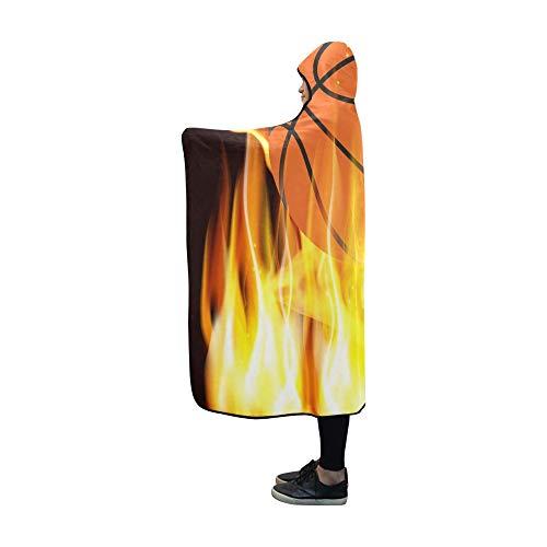 Basketball Hooded (AIKENING Hooded Blanket Flames Basketball Blanket 60x50 Inch Comfotable Hooded Throw Wrap)