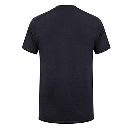 Allywit-Mens Spring Summer Casual Fashion Cute Printing O-Neck Short Sleeve Cotton T-Shirt Black by Allywit-Mens (Image #1)