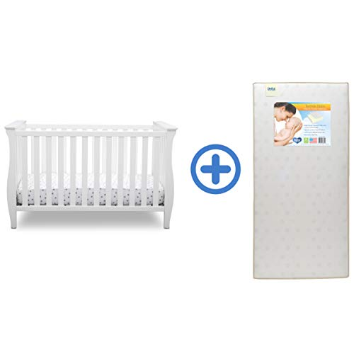 Delta Children Lancaster 3-in-1 Convertible Baby Crib & Twinkle Stars Waterproof Fiber Core Crib and Toddler Mattress, Bianca White