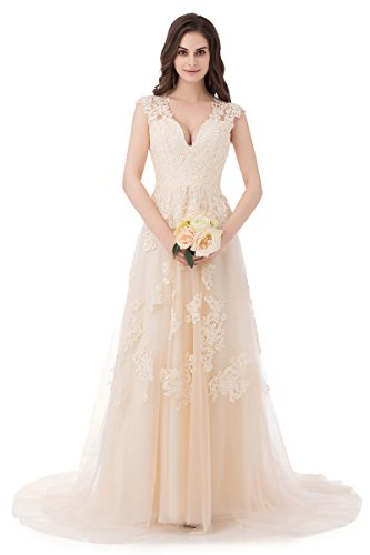 Ruolai ASA Bridal Women\'s Vintage Cap Sleeve Lace Wedding Dress A ...