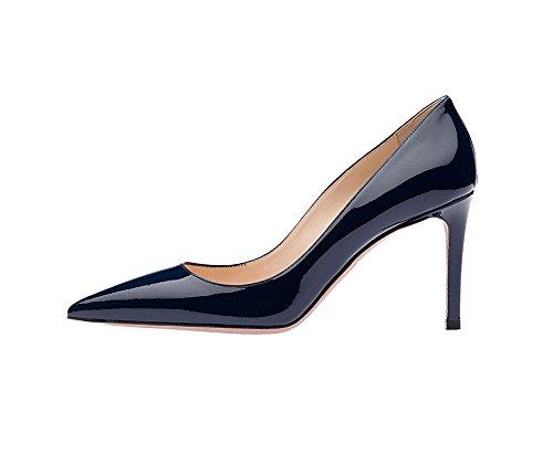 Guoar Mujeres Stiletto Zapatos De Tacón Alto Bombas De Tacón Alto De Las Señoras Del Dedo Del Pie Para El Vestido De Fiesta Del Partido Del Trabajo B-azul Oscuro Patente