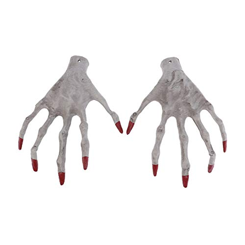 Amosfun Hand Skeleton Red Nails Witch Hand Props Ghost Toy Halloween Party Decoration Prank Props (Hands Mummy)